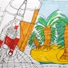 Thunderbirds-Take-off-from-Tracy-Island-42x30-Viltstift-op-Papier